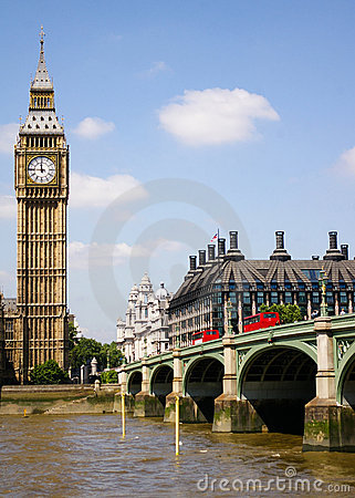 Big Ben and the Westminster Bridge, London, UK