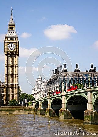 Big Ben and the Westminster Bridge, London, UK