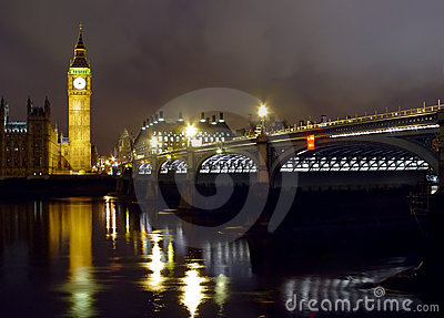 Big Ben and Westminster bridge at night