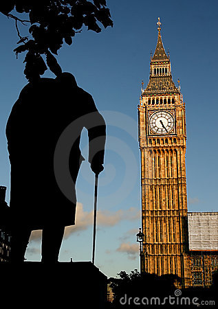 Big Ben and Winston Churchill s statue at sunset