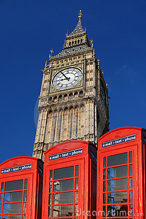 Free Big Ben With Red Phone Boxes, London Stock Image - 19865871