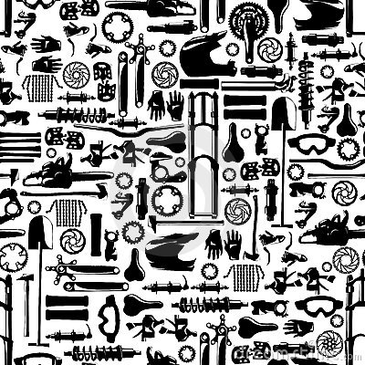 Big bike part vector colletion seamless pattern