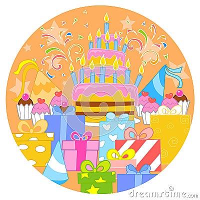 Big birthday cake and decorations