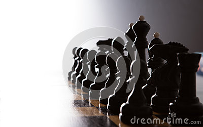Big black chess pieces set