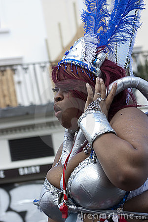 A big black woman at Notting Hill carnival Editorial Stock Photo