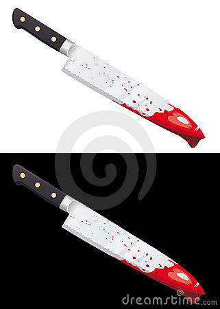 Big bloody knife isolated