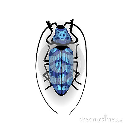 Free Big Blue Bug With Long Moustaches. Royalty Free Stock Images - 51868509