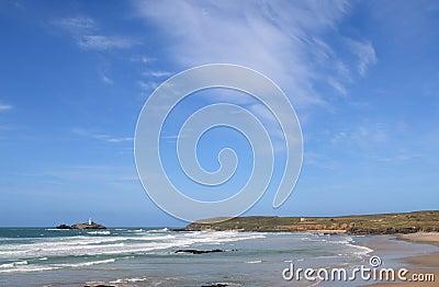 Big blue sky over Godrevy.