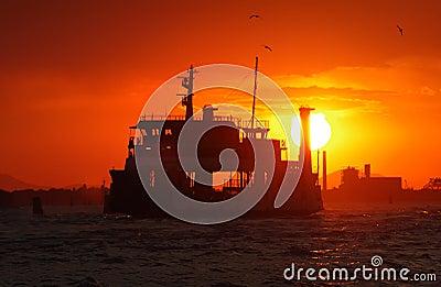 Big boat at sunset