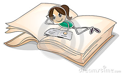 A big book with a young girl reading