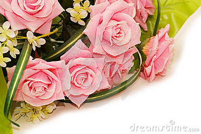Big bouquet of roses isolated on white