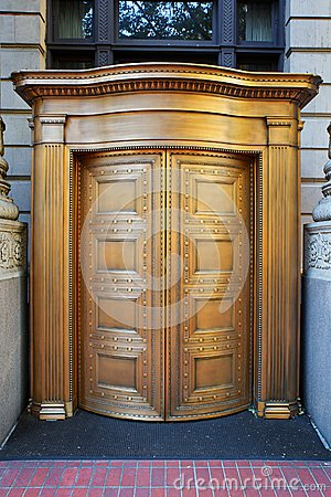 Big Brass Revolving Bank Doors