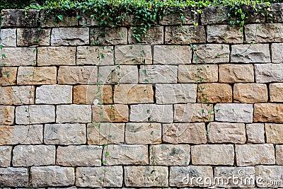 Big bricks and vegetation background