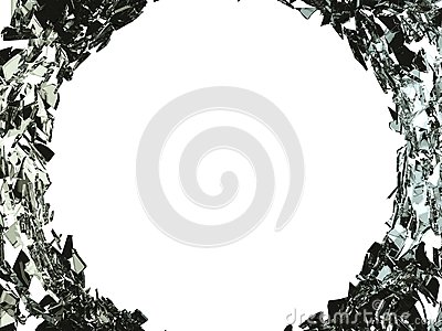 Big bullet hole and shattered glass on white Stock Photo