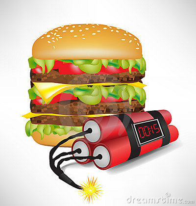 big burger with exploding bomb
