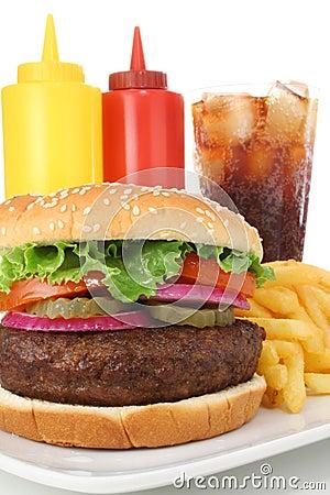 Big Burger with fries, soda, ketchup and mustard