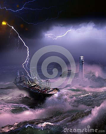 Arrival under the storm Stock Photo