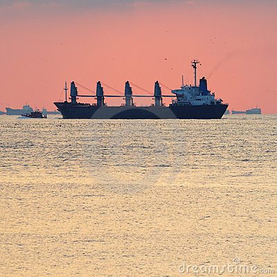 Big cargo ship escorted