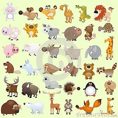 Free Big Cartoon Animal Set Royalty Free Stock Photography - 21005297