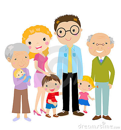 Big cartoon family with parents, children and gran