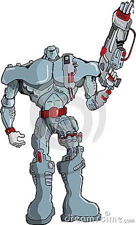 Big Cartoon Robot Soldier with gun