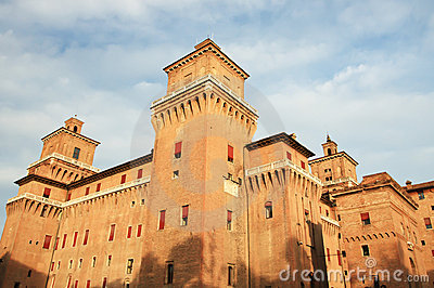 Big castle in Ferrara city, Italy