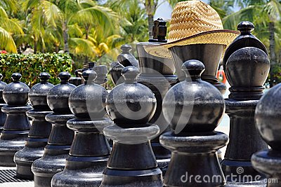 Big chess for game on a beach
