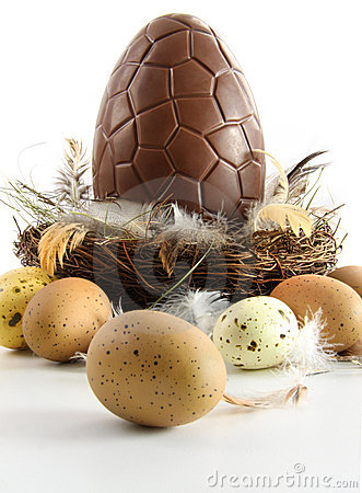Free Big Chocolate Easter Egg In Nest With Feathers Royalty Free Stock Images - 18532679