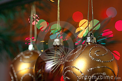 Big Christmas  baubles and candles on dark