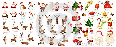Big Christmas set Vector Illustration