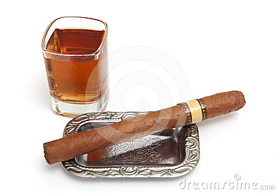 Big cigar and cognac