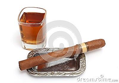 Big cigar and cognac