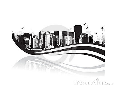 Big City - Grunge styled urban background. Vector