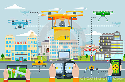 Big City Modern Technologies Concept Vector Illustration
