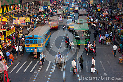 Big city street with thousands of people and bikes Editorial Stock Photo