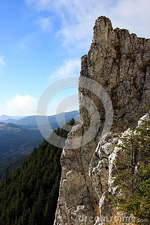 Big cliff on the top of the mountain