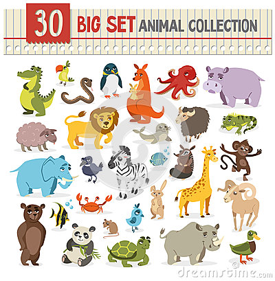 Free Big  Collection Of Cute Wild Animal. Vector Illustration On Whit Stock Photo - 76782020