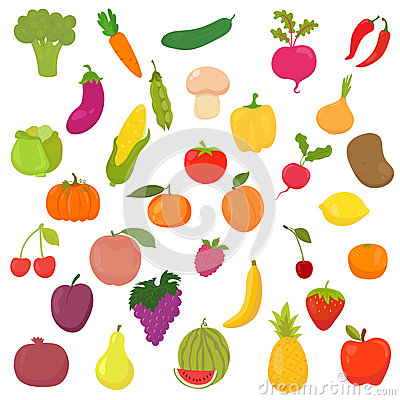 Free Big Collection Of Vegetables And Fruits. Healthy Food Royalty Free Stock Image - 51049766