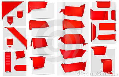 Big collection of red origami paper banners