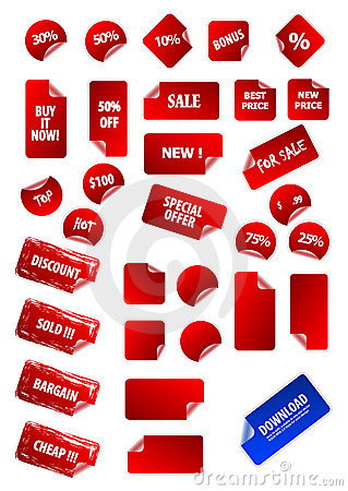 Big collection of vector sticky price labels.