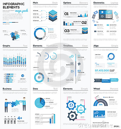 Free Big Colletion Of Blue Infographic Business Vector Elements Stock Photo - 51363400