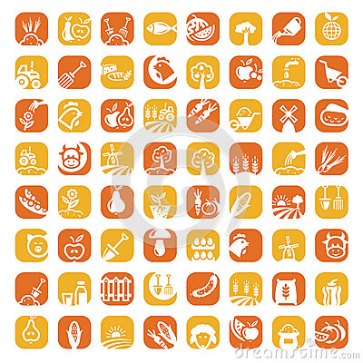 Free Big Color Farm Icon Set Stock Photo - 30027340