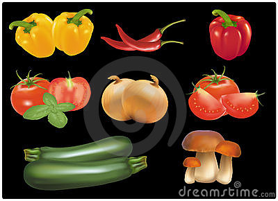 The big colorful group of ripe vegetables.