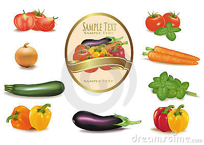 The big colorful group of vegetables and label.