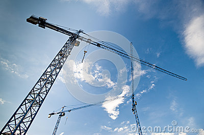 Big construction cranes