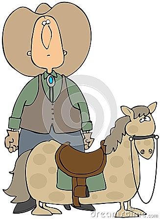 Big Cowboy Small Horse