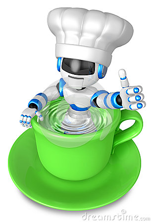 A big cup in the best blue chef robot gestures