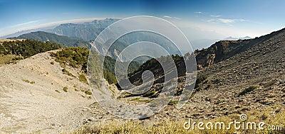 Big dangerous ravine panorama with the high mo
