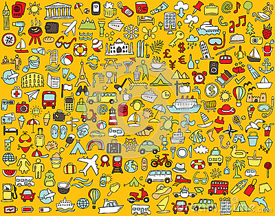 Big doodled travel and tourism icons collection