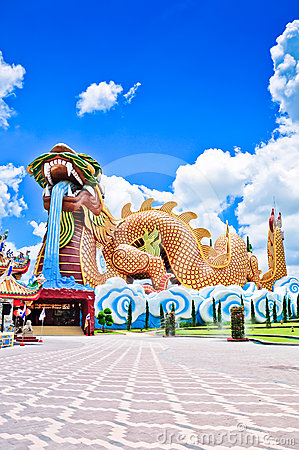 A big dragon at Suphanburi with blue sky